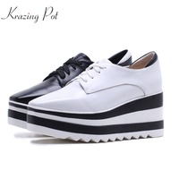 Krazing Pot new cow leather casual shoes square toe women pumps wedge superstar high heels mixed color lace up Oxford shoes L6f1