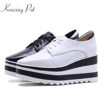 Krazing Pot new cow leather casual shoes square toe women pumps wedge superstar high heels mixed color lace up Oxford shoes L6f1 - DISCOUNT ITEM  52% OFF All Category