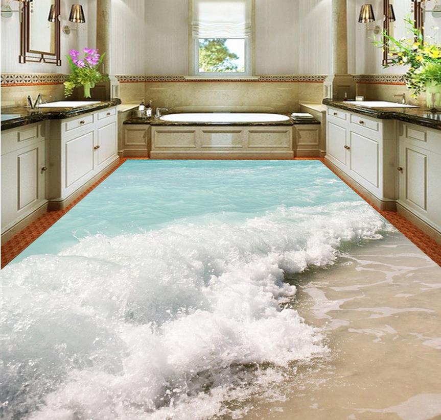 3d flooring 3d ocean waves flowing floor design wallpaper - Waterproof floor paint for bathrooms ...