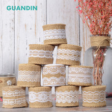 GUANDIN,,2 Yard/Piecs Decoration Belt,DIY Handmade/Wedding Party/Crafts&Gift Packing Decoration Material Linen Lace Ribbon(China)