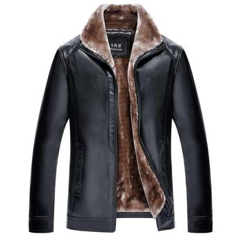 Plus velvet thickening fur one piece coats mens winter motorcycle leather jacket men jaqueta de couro masculino long sleeves