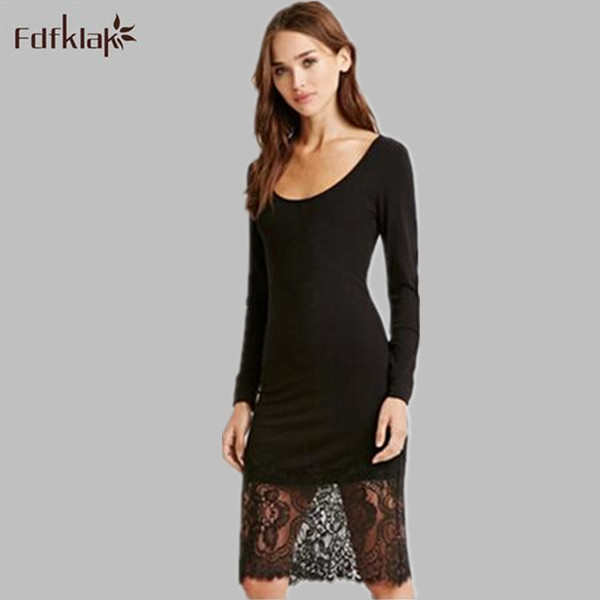 5495dcb53d Estilo europeu lace dress mulheres vestidos primavera verão 2017 manga  comprida o pescoço vestidos femininos preto fêmea party dress q898