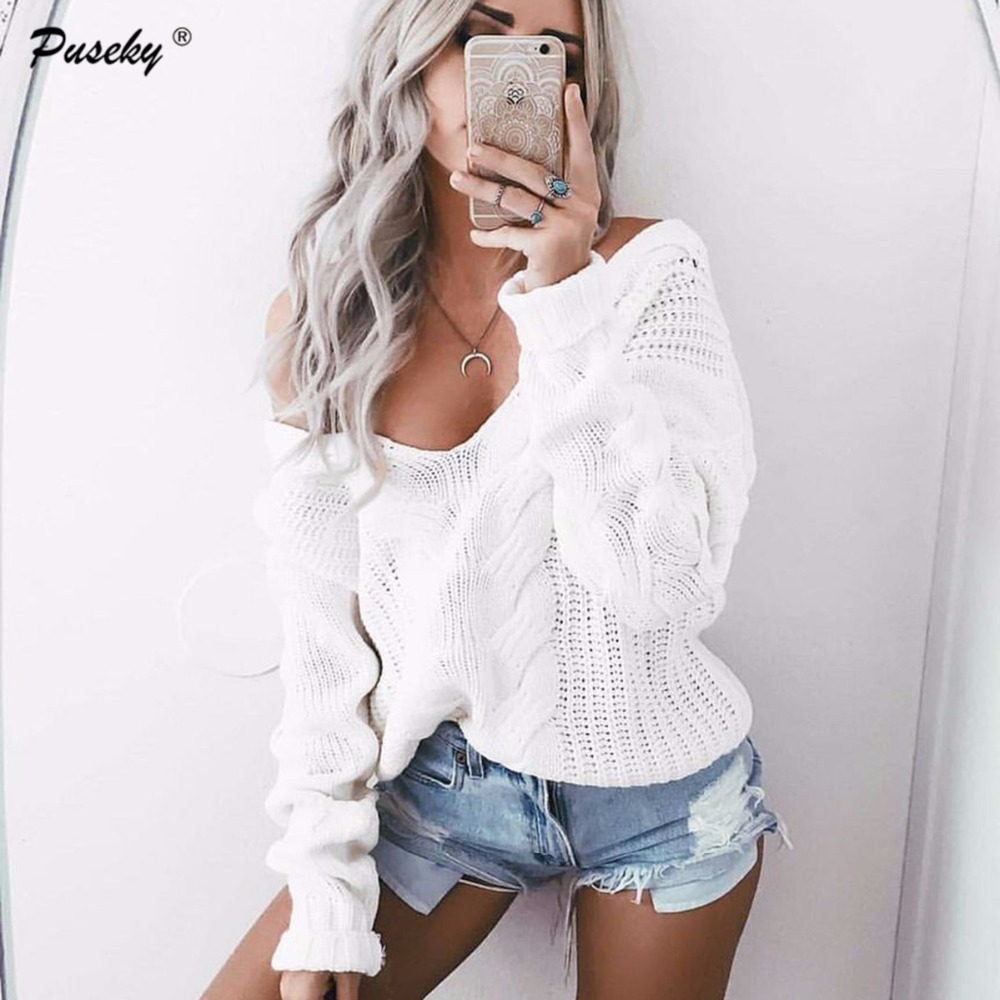 Fashion Women Full Sleeve Deep V-neck Pullovers Sweaters Solid Knitted Sweater Women Off Shoulder Design Sweaters Jumper