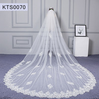 Appliqued Lace Cathedral Wedding Veil 3.5 Meters Long Bridal Veil Lace Bridal Veils Cathedral Wedding Accesories