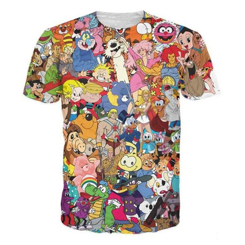Sondirane Totally 80s T-Shirt Jem And The Holograms Care Bears ThunderCats Alvin The Chipmunks Character T Shirt Cartoon Tees