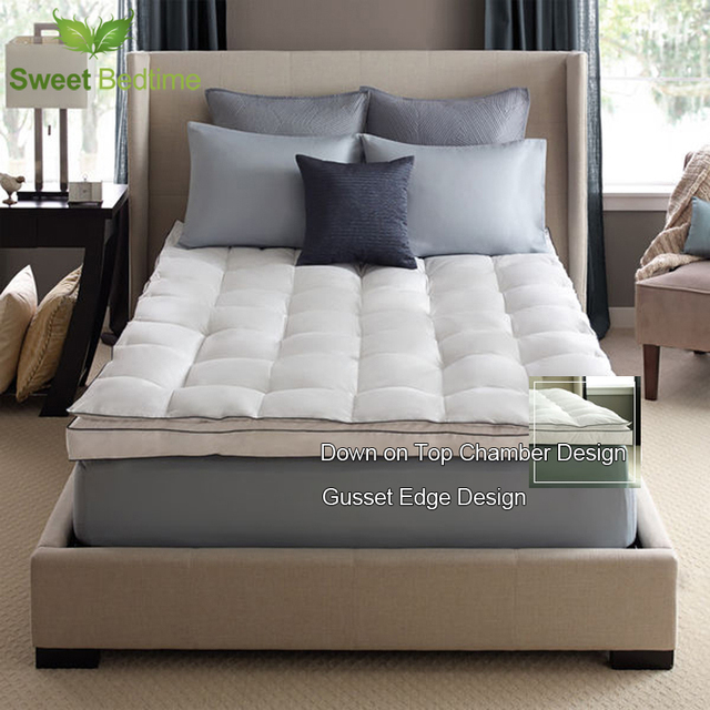 Luxury Bed Mattress Topper Down On Top Featherbeds 550 White Duck Feather Tatami