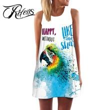 Urifens 2018 летнее платье Для женские без рукавов Пляжные наряды мода свободные Цветочные характер печати Повседневное мини-платье  длинная футболка LS10