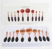 Professional Makeup Brushes Set 10pcs Rose Gold Oval Make UP Brush High Quality Beauty Makeup Tools