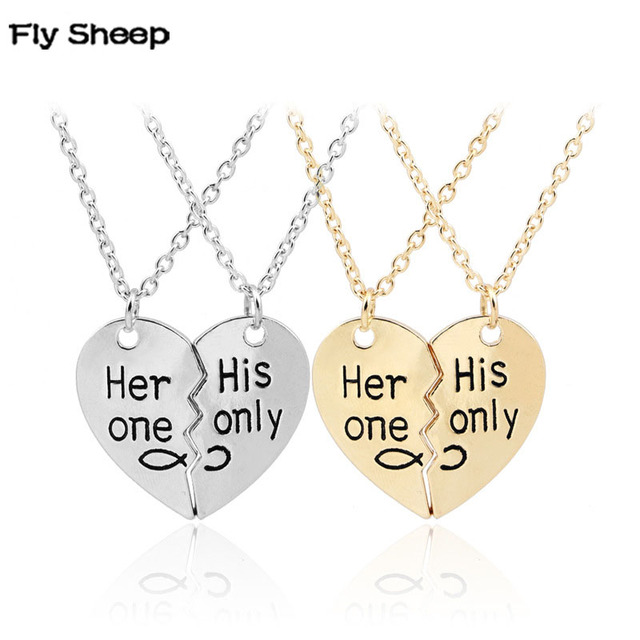 Her one his only 2 pieces spliced heart pendant necklace gold silver her one his only 2 pieces spliced heart pendant necklace gold silver handwriting letters couples necklace aloadofball Choice Image
