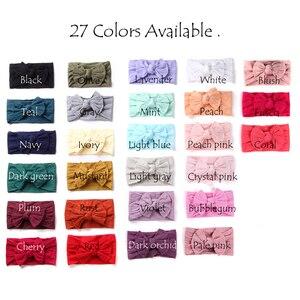 Image 1 - 100 stks/partij, Groothandel Brede Nylon Boog Headwrap, One size fits meest Knoop Boog Nylon Hoofdbanden 27 Kleuren beschikbaar