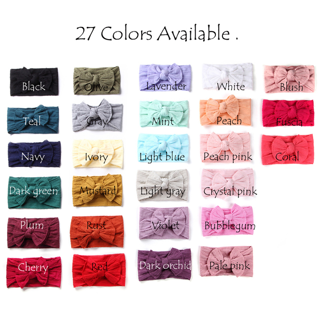 100 stks/partij, Groothandel Brede Nylon Boog Headwrap, One size fits meest Knoop Boog Nylon Hoofdbanden 27 Kleuren beschikbaar