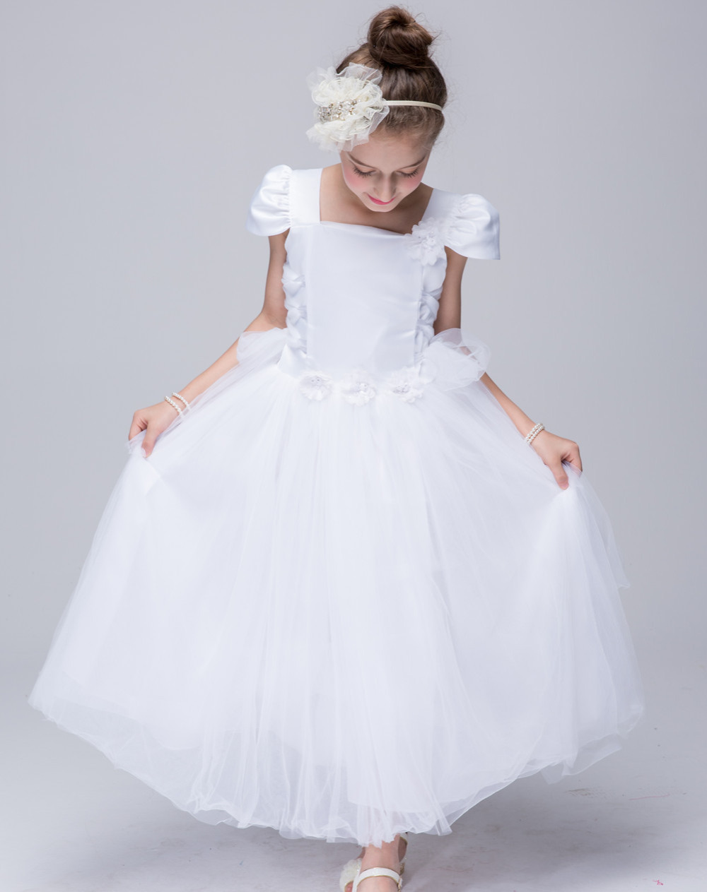 Girls Bridesmaid Long Dresses White Pink Wedding Pageant Party Gown Princess Clothes Tulle Sundress Frocks For 4 6 8 10 12 Years lf40203 sexy white pink blue strappy heart heel wedge wedding sandals sz 4 5 6 7 8 9 10