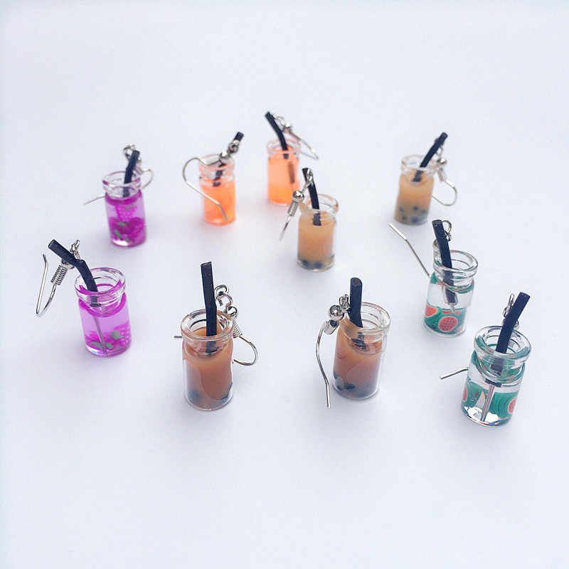 Unique Bubble Tea Dangle Earrings Personality Glass Bottle Fruit Tea Drink Earring for Woman Girl Funny Summer Party Jewelry