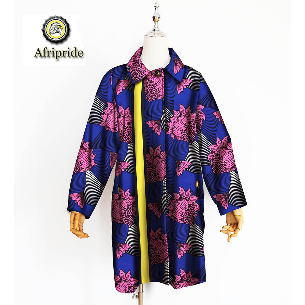 2019 african coats for women AFRIPRIDE bazin riche ankara print pure cotton coats private custom wax batik o neck S1824014 in Trench from Women 39 s Clothing