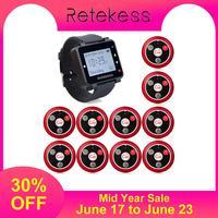 Retekess 433MHz Wireless Calling System Waiter Call Pager Watch Receiver T128 + 10pcs Call Button T117 Restaurant Equipment
