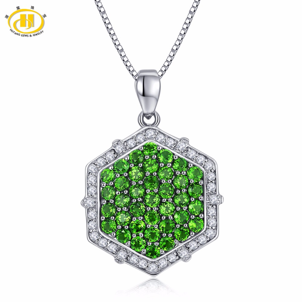 Hutang Solid 925 Sterling Silver 2.13ct Natural Gemstone Chrome Diopside Pendant & Necklace Fine Jewelry For Women