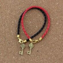2pcs/lots leather bracelet Antique gold Saint Benedict Medal Cross Key Religious Charms Pendants Bracelet(red & black) B-351