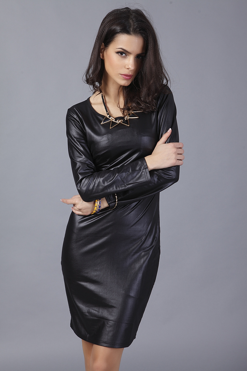 7ad4152cf91ba Summer Dress 2017 New Arrival Woman Fashion Thin Faux Leather Dress Long  Sleeve Above Knee Mini Sexy Black Bodycon Women Dresses-in Dresses from  Women's ...