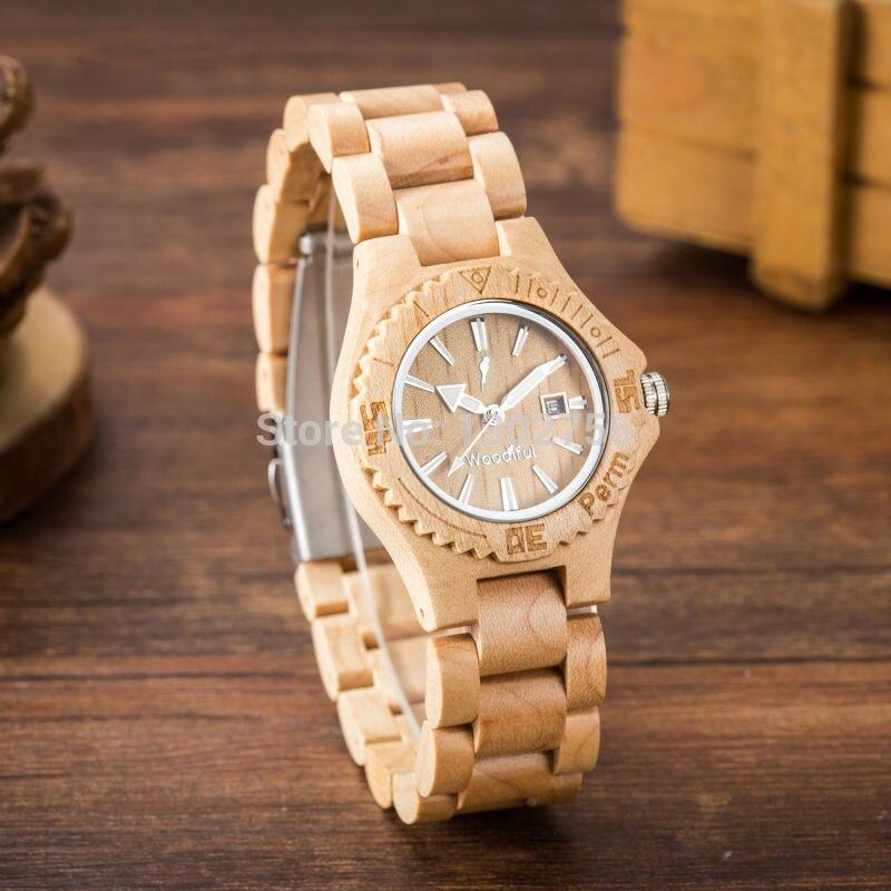 Fashion Women Maple Wood Dress Wristwatch For Girl Japan Quartz Analog Wooden Watech
