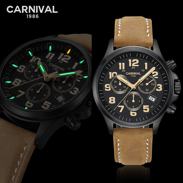 Carnival T25 Tritium Watch Men Sport Military Mens Watches Top Brand Luxury Quartz Wristwatch Luminous Clock relogio masculino