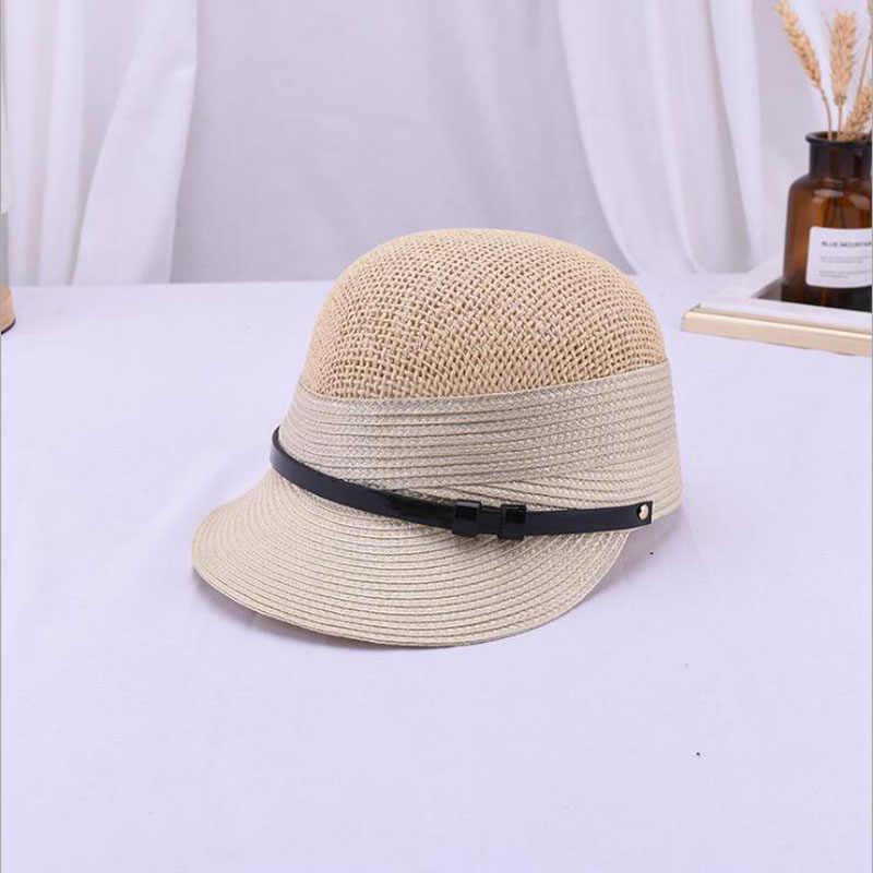 夏の女性の帽子通気性シンプルなベルトバックルわら帽子屋外太陽バイザー英国ファッションレディ新ビーチキャップ馬術キャップ