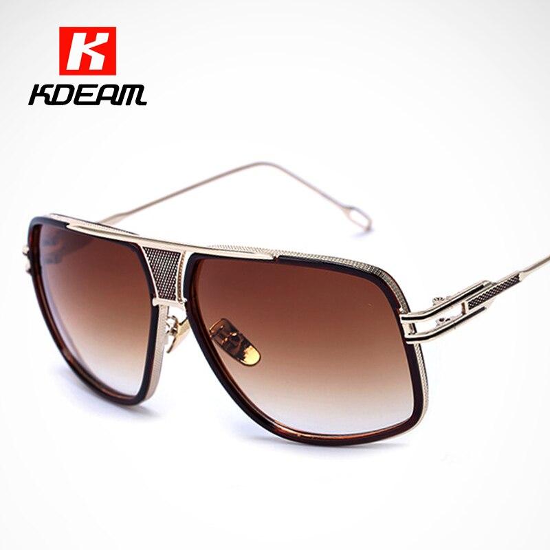 6754e6f69 الفاخرة العين-حافة الذهب النظارات الشمسية الرجال منحوتة مصمم نظارات شمسية  النساء الماس نمط جسر مكبرة مع مربع KDEAM CE