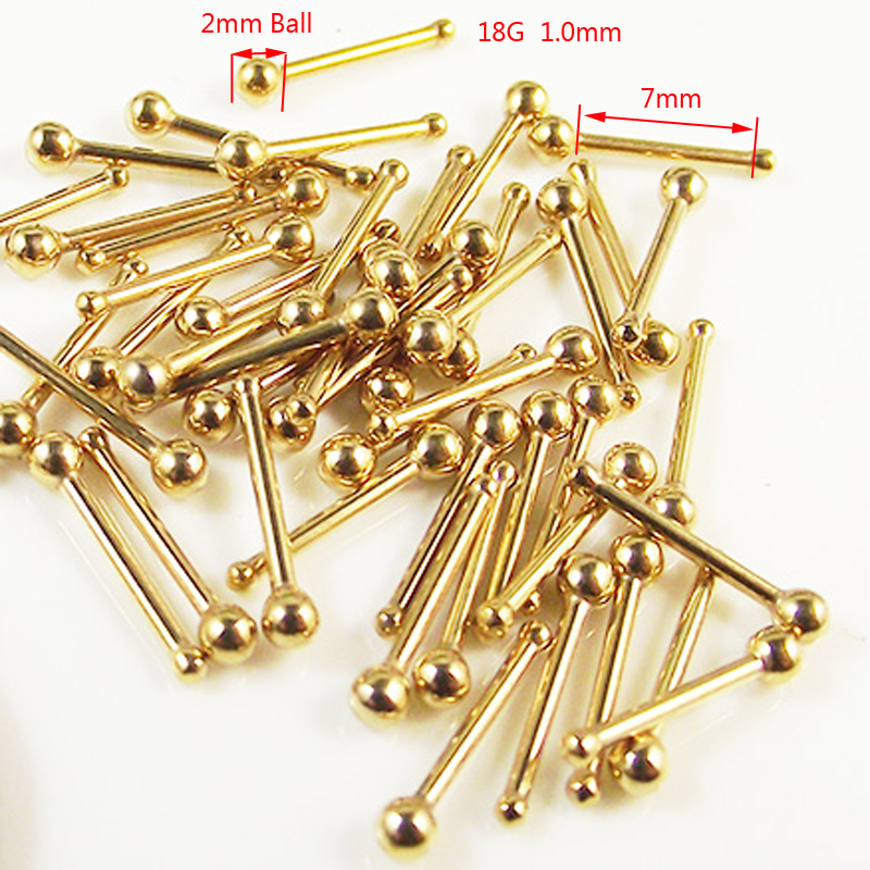 3 Pieces 1.0mm Stainless Steel Gold Ball Nose Stud Ring Nose Studs Rings Tragus Helix Mini Earring Body Piercing Jewelry