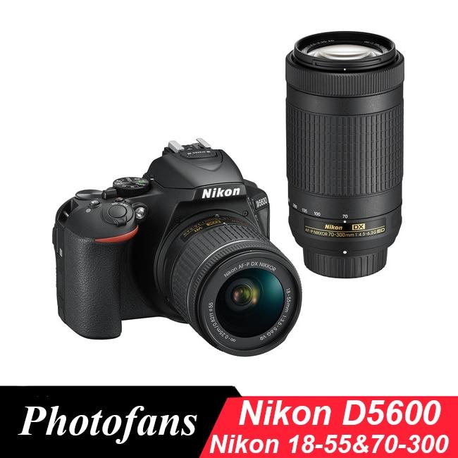 Nikon D5600 Appareil Photo REFLEX NUMÉRIQUE avec 18-55mm et 70-300mm Lentilles (Nouveau)