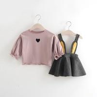Korean children's clothes, baby children, long sleeved bottom shirts, back skirts, two piece girls' spring cartoon sets