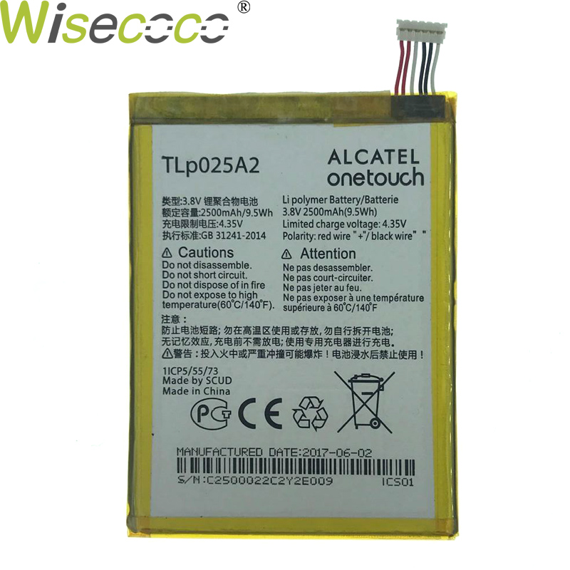 WISECOCO In Stock 2500mAh Tlp025a2 Battery For <font><b>Alcatel</b></font> <font><b>One</b></font> <font><b>Touch</b></font> Pop 2 (5) / 7043Y / 7043K / 7043A 7043E Phone+Tracking Number image