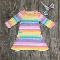 Nuevos bebés del resorte del algodón vestido de boutique de ropa de los niños de bolsillo de seda de la leche suave arco iris Macarrones estrellas raya partido Del aro Del Pelo