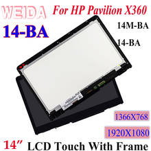 WEIDA LCD For HP PAVILION X360 14M-BA 14-BA Series 14 Touch Screen Display Assembly Frame Replacement