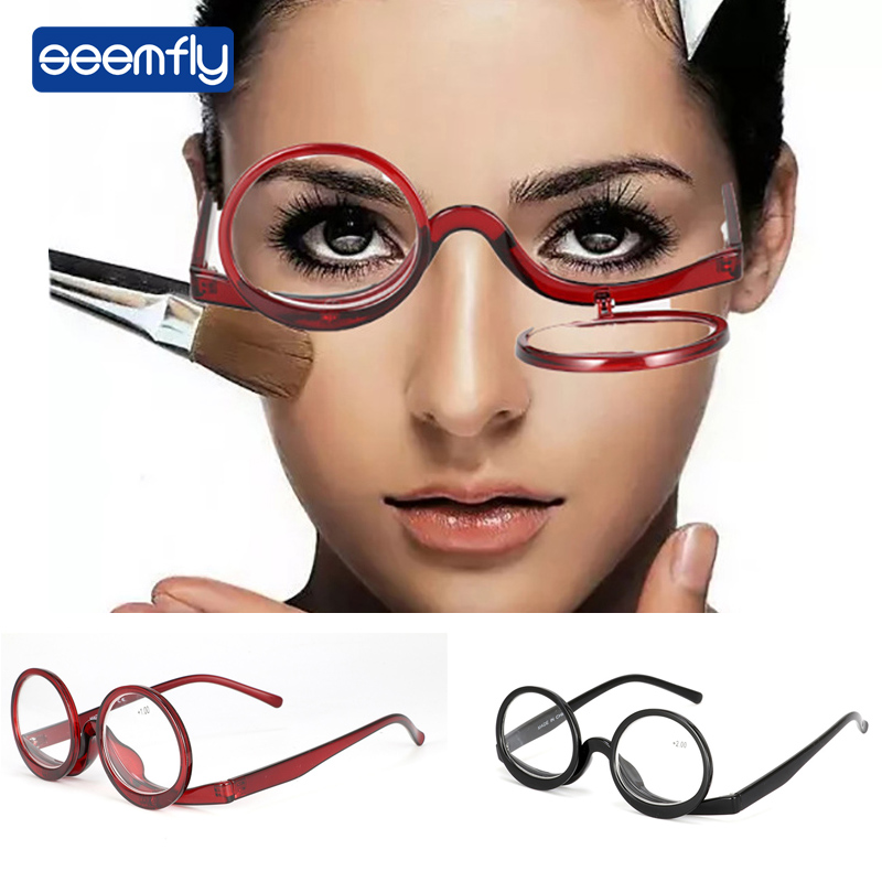 Seemfly New Makeup Reading Glasses Renovate Glasses For Parent Elderly Farsighted Glasses Portable Presbyopic Magnification