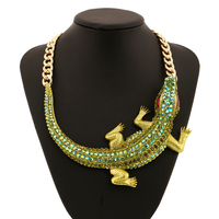 Crocodile Rhinestone Exaggerated Choker Necklace Cute Animals Maxi Colar Big Chunky Necklaces Gros Collier Femme Women