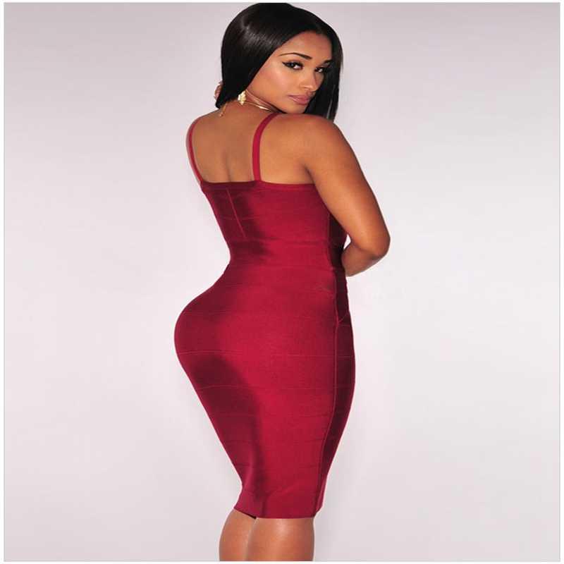 a426a012191f0 Leger Babe 2019 Sexy Prom Bandage Dress Women Summer Strap V Neck Vestido  Split Bodycon Club Party Dresses Zipper Wine Red Beige