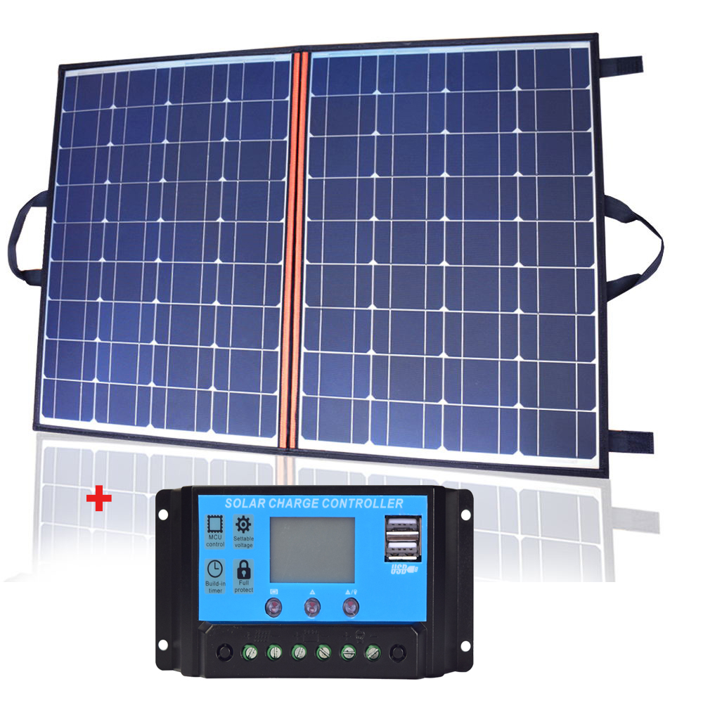 Boguang 55 X 2 110w solar panel foldable Portable Solar charger 10A controller for 12v battery