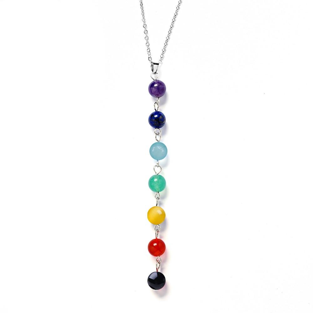 7 Chakra Gem Stone Beads Pendant Necklace Women Yoga Reiki Healing Balancing Maxi Chakra Necklaces Bijoux Femme Jewelry 2018 New