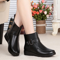 2016 winter new natural genuine leather women snow boots with plus large size 35-43 # thick wool warm flat with mother boots