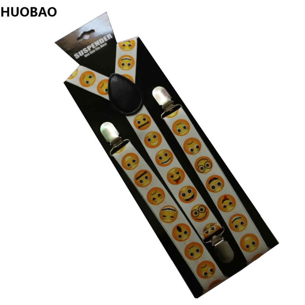 HUOBAO 2019 NEW 2.5cm Wide White Adjustment Smile Face Suspenders For Womens
