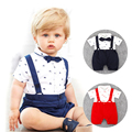 0-24M Baby Rompers Infant Jumpsuit Toddler Cotton Short Sleeve Bib Pant Kid Gentleman Casual Suit With Bow Tie Baby Boys Clothes