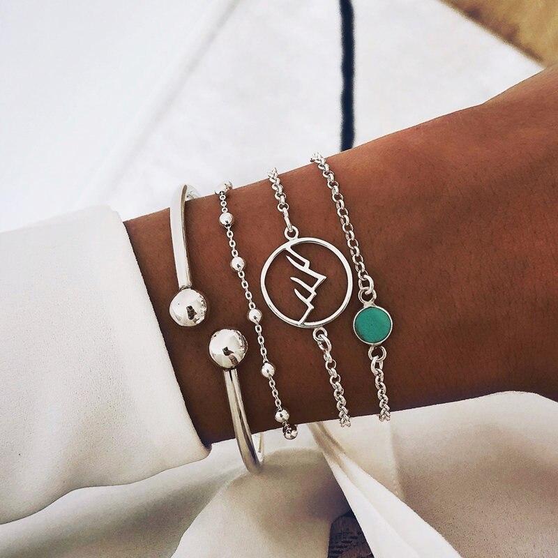 4 Stks/set Boho Etnische Geometry Patroon Cirkel Holle Groene Armbanden Multilayer Zilveren Manchet Armband Bangle Set Sieraden Geschenken Bevordering Van Gezondheid En Genezen Van Ziekten