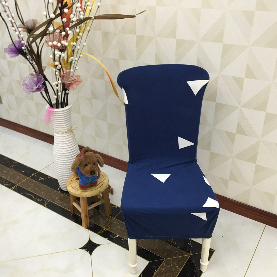 Deep Blue Polyester Elastic <font><b>Chair</b></font> <font><b>Cover</b></font> White Triangles Pattern Modern Spandex <font><b>Chair</b></font> <font><b>Cover</b></font> for Living Room Decoration