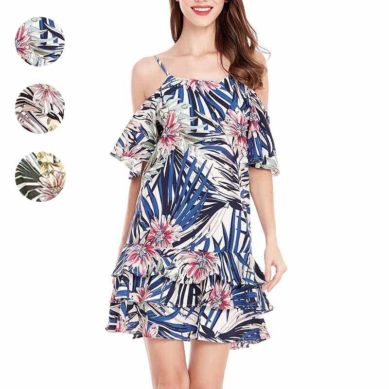 Women Lady Girl Dress Bare Shoulder Sleeveless Harness Printing Fashion Sexy Clothing FS99