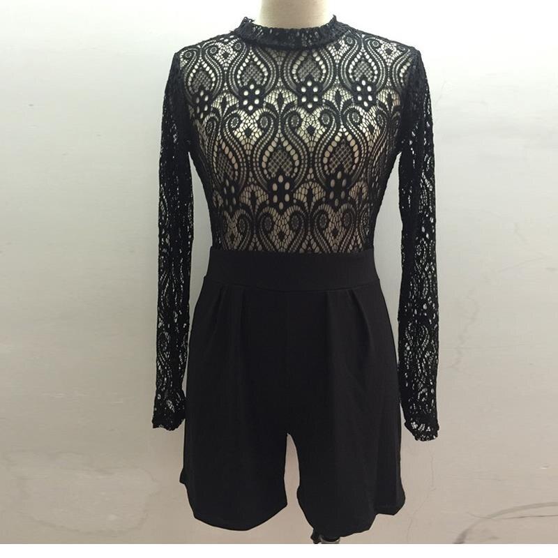 Summer Roupa Feminina Turtleneck Lady Playsuit Long Sleeve Lace See Through Top Short Pants Black Jumpsuit Romper W126811