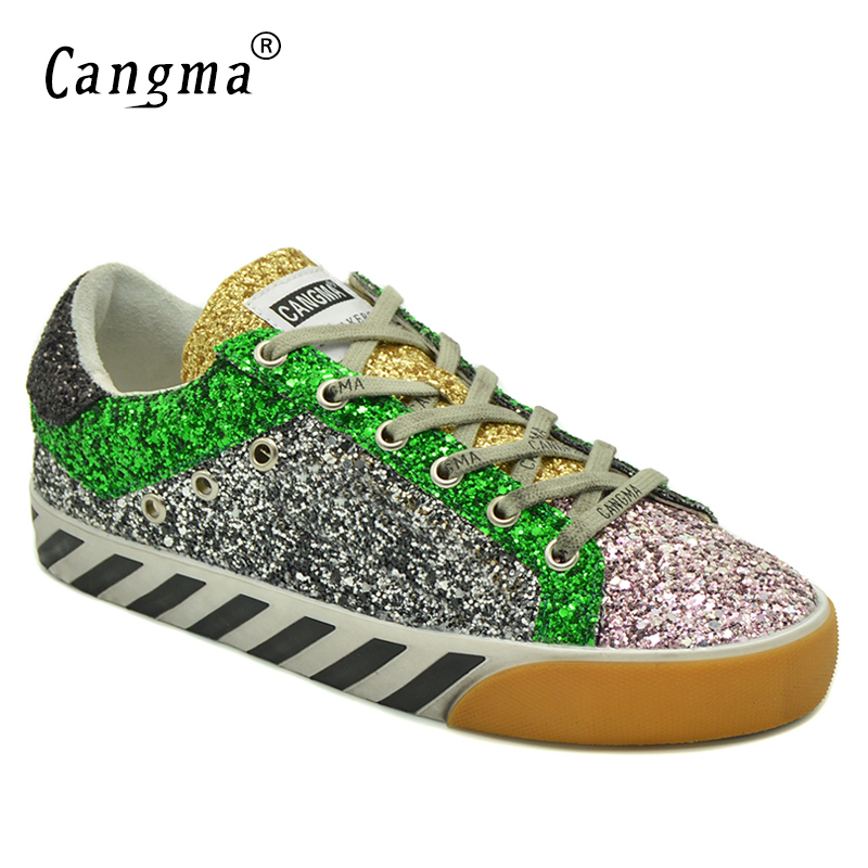 CANGMA Famous Brand Shoes Stylish Ladies Sequined Flats Black Silver Glitter Sneakers Wo ...