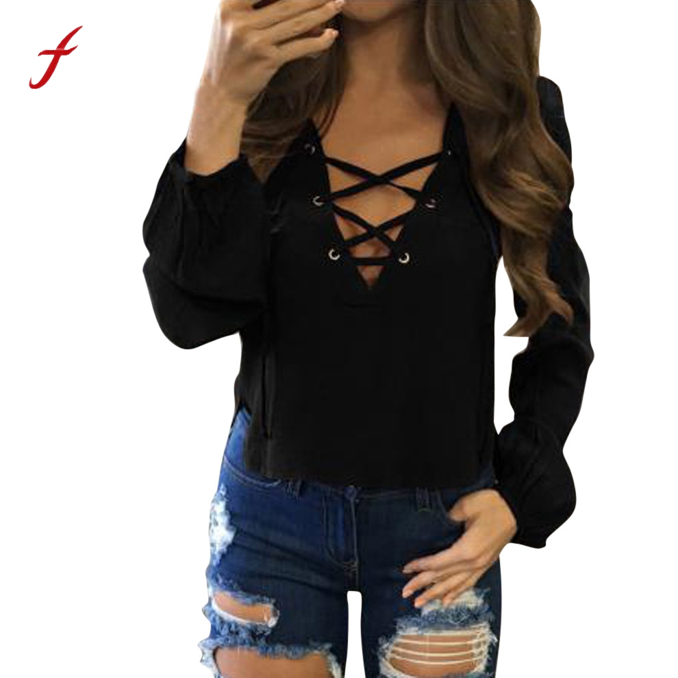 Feitong 2019 Fashion Solid Lace Up Blouse Women Sexy V Neck Pullover Shirt Blouses Long Sleeve Casual Crop Tops blusas feminina Блузка