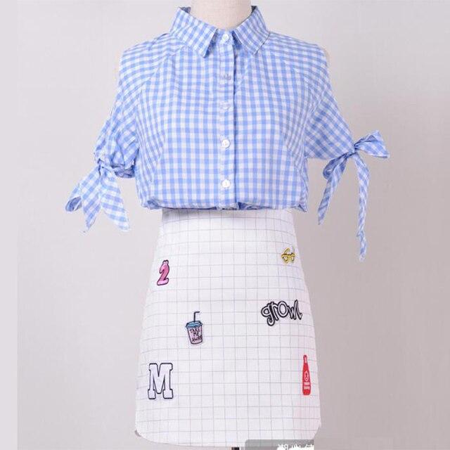 Комплект одежды лета 2016 Новая Одежда Высокого Качества лето роскошные Женщины наборы мода повседневная рубашка Топ + юбка костюм мини-юбка