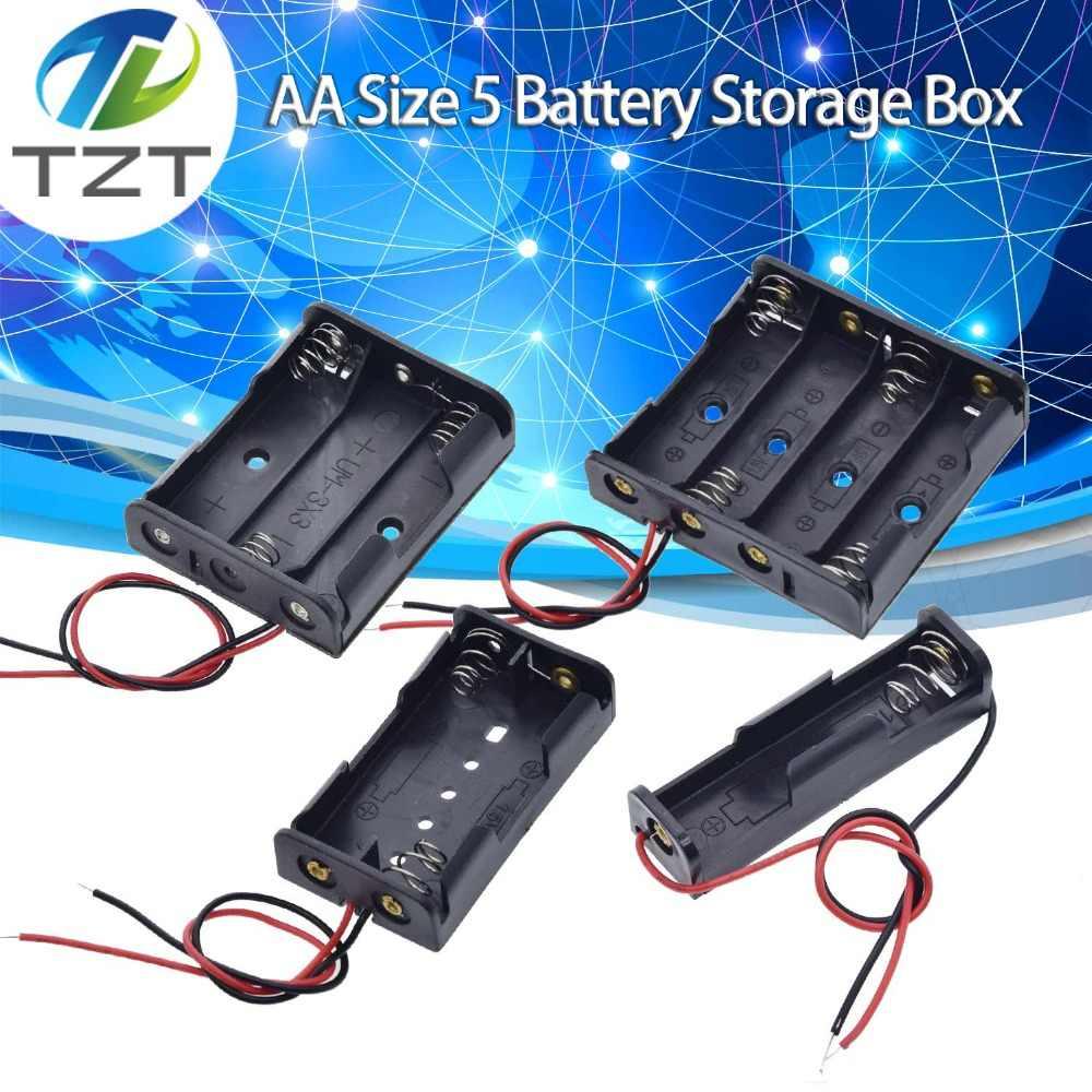 TZT AAA tamaño 5 caja de almacenamiento de batería soporte con 1 2 3 4 ranuras contenedor Bolsa DIY estándar baterías de carga