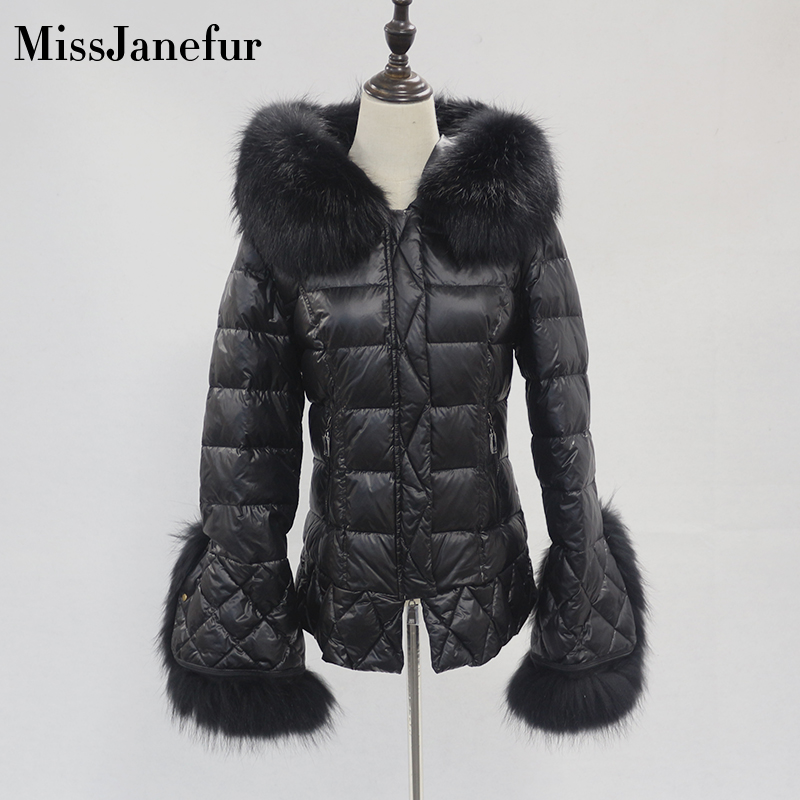 Women Winter Jacket Down Coat Real Fox Fur Collar Down Parka Outerwear Thick Warm Winter Clothing 2019 Fashion Duck Down Jacket image