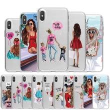 Dễ Thương Cho Bé Con Mẹ TPU Ốp Lưng Điện Thoại Cho iPhone X XS Max XR 11 Pro 7 8 6 6S plus 5 5S SE 2020 Nữ Hoàng Cô Gái Ốp Clear Cover